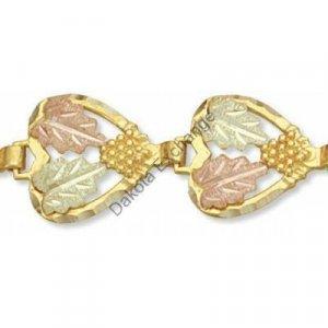 "Black Hills Gold Hearts Ladies Bracelet 7 1/2"""