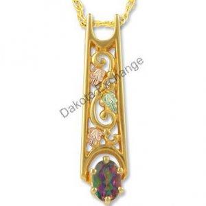 Black Hills Gold Oval Mystic Fire Topaz Necklace