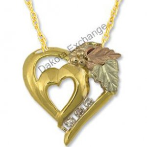 Black Hills Gold Double Heart 3 Diamond Necklace