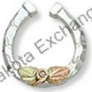Black Hills Gold On Silver Lucky HorseshoeTie Tack