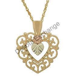 Black Hills Gold Pendant Necklace Flower & Hearts