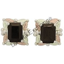 Black Hills Gold Earrings Smokey Quartz Emerald-Cut Post