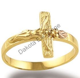 Black Hills Gold Leaves & Crucifix Ladies Ring NEW