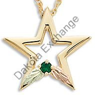 Black Hills Gold Star All Synthetic Birthstones Necklace
