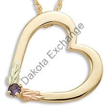 Black Hills Gold Heart All Synthetic Birthstones Necklace