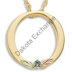 Black Hills Gold Circle All Synthetic Birthstones Necklace