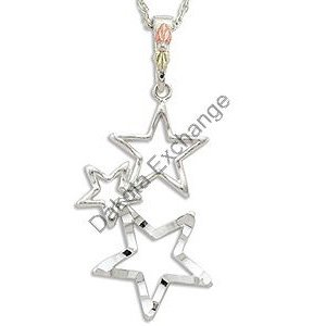 Black Hills Gold Three Stars Pendant Necklace