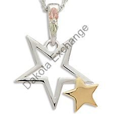 Black Hills Gold 10K Gold Star & Sterling Silver Star Necklace