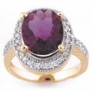 5.50ctw ACA Certified Diamond & Amethyst Ring in 14K Yellow Gold