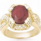 ACA Certified 7.00ctw Ruby & Diamond Ring 14K Yellow Gold