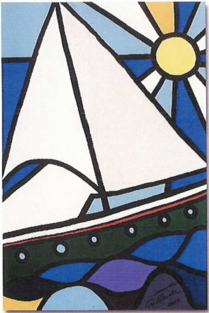 "Limited Edition giclee Fernando Allende's ""Sailboat & Sun"""