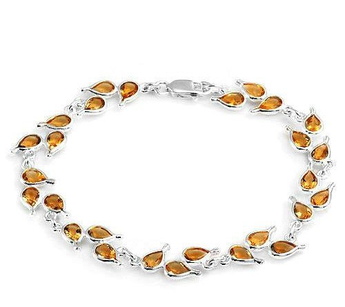 9.45ctw Genuine Citrine Bracelet in 925 Sterling Silver