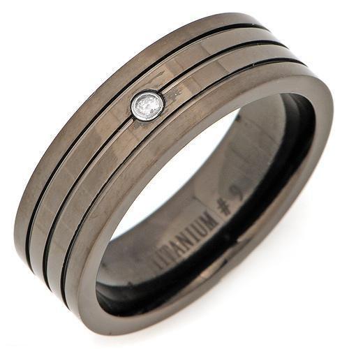 Titanium Gents Ring with Genuine Diamond