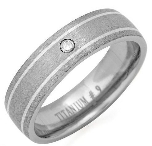 Titanium Gent's Ring with Geniune Diamond
