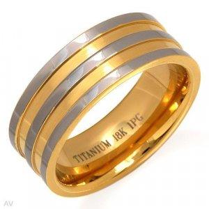 18K Gents Titanium Ring