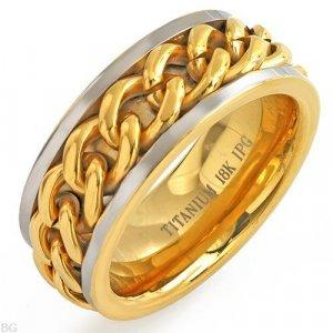 18K/Ti Gold Plated Titanium Gents Ring