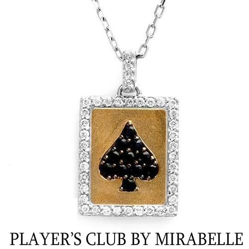 """PLAYER'S CLUB BY MIRABELLE"" 18K Necklace w/Genuine Clean Diamonds & Sapphires"