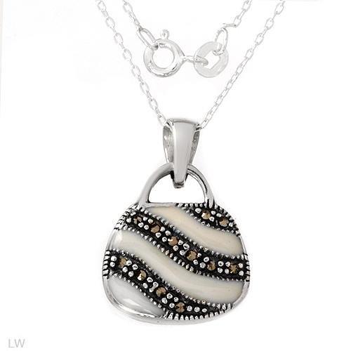 Wonderful Handbag Necklace With Genuine Marcasites