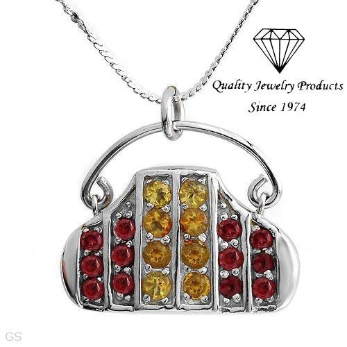MADE IN ITALY! Handbag Necklace with 1.72ctw Genuine Citrines & Garnets
