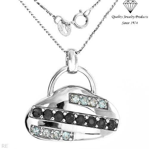Fashionable Handbag Necklace with 2.00ctw Sapphires & Topazes