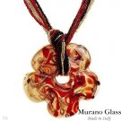 """MURANO GLASS"" MADE IN ITALY! Necklace in 24K Three Tone"
