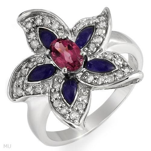 Dazzling Ring With 1.30ctw Diamonds, Sapphires, & Chalcedonies