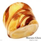 MURANO GLASS MADE IN ITALY! Ring in 24K Two Tone