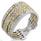 Sensational Ring w/Genuine Diamonds Solid 14K Two Tone Gold