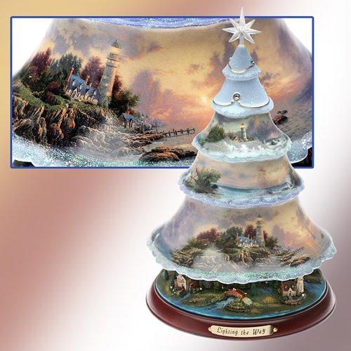 "Bradford Exchange ""Thomas Kinkade Lighting the Way"" Heirloom Porcelain Illuminated Tree"