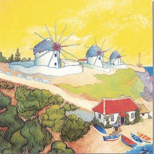 """Limited Edition giclee Hugo Westphal's """"Windmills on the Aegean"""""""