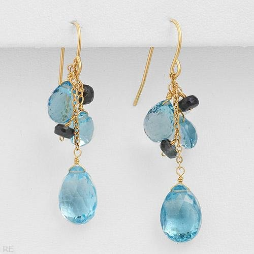 High Quality Earrings With 8.36ctw Genuine Sapphires and Topazes