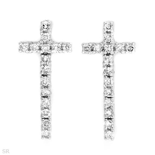 Gorgeous Earrings With 0.50ctw Genuine Diamonds in 18K White Gold