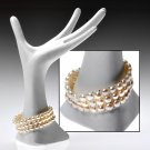 Genuine White Freshwater Pearl 3 Row Bracelet.