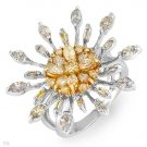 Certified Ring W/1.87ctw Genuine Clean Diamonds in 18K Two Tone Gold - Certified