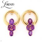 LORENZO Stunning Earrings With 4.02ctw Genuine Diamonds & Amethysts