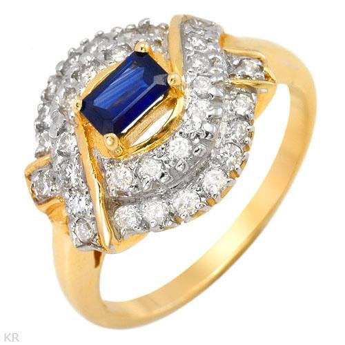 Gorgeous Ring With 0.85ctw Genuine Diamonds and Sapphire