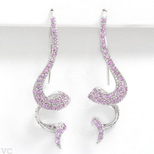 Gorgeous Earrings With 2.33ctw Genuine Sapphires in 14K White Gold
