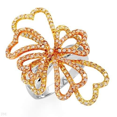 Irresistible Ring w/1.35ctw Diamonds in 14K Three Tone Gold