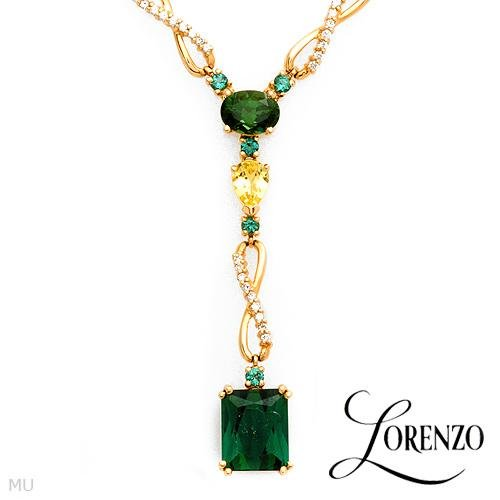 LORENZO Irresistible Necklace W/9.95ctw Clean Diamonds & Tourmalines