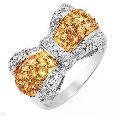 Superb Ring With 1.03ctw Genuine Diamonds & Sapphires