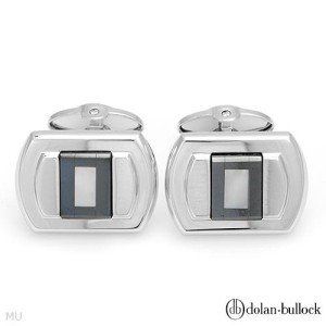 New DOLAN BULLOCK Cuff Links Hematites/Mother-of Pearls