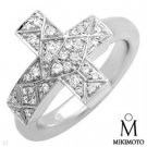 Authentic Mikimoto! Clean FG/VS Diamonds 18K Cross Ring