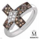 Authentic Mikimoto! Clean VS Diamonds Cross Ring