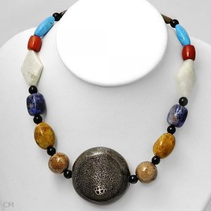 Charming Necklace w/Agates,Corals,Sodolites &Turquoise