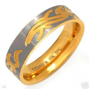 Gent's  Ring Made in 18K Ti Gold Plated Titanium