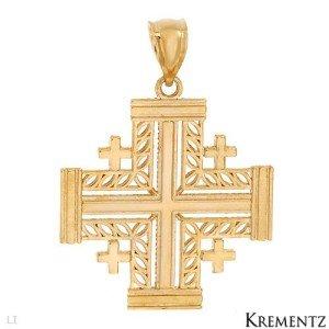 Brand New KREMENTZ Cross Pendant in 14K Yellow Gold