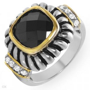Beautiful Ring with Genuine Onyx & Topazes 14K/925 GP