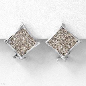 New Earrings w/Princess Cut Diamonds 14K WG
