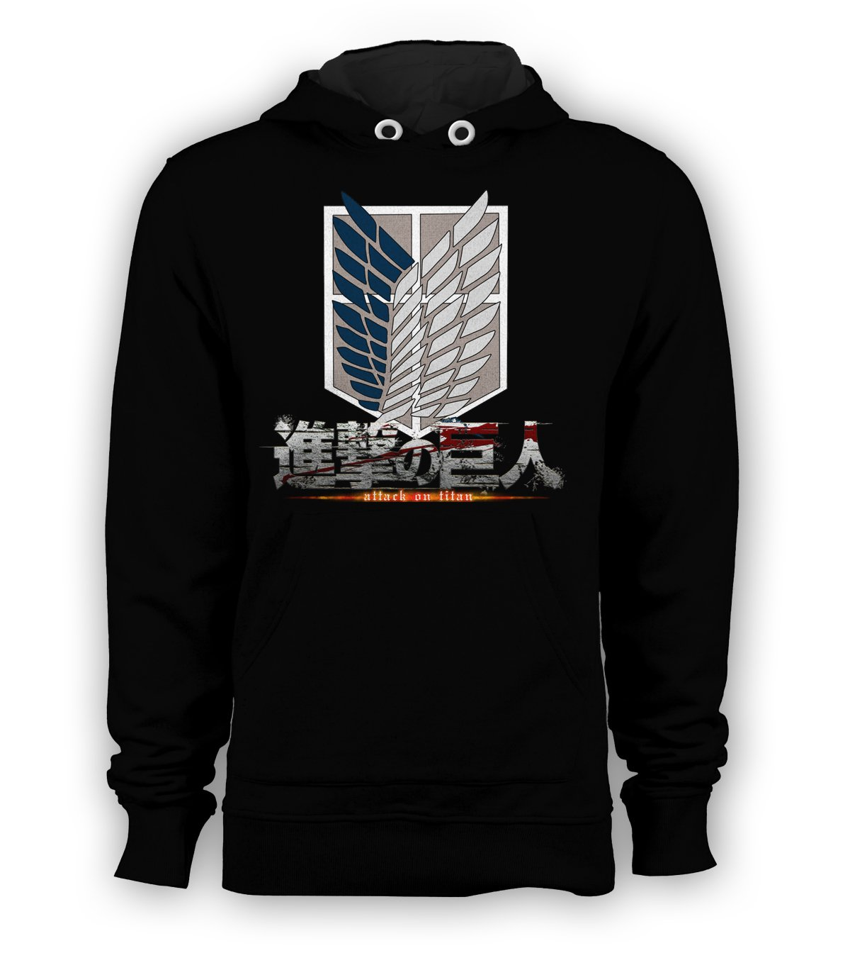 Attack On Titan Wings of Freedom Pullover Hoodie Men Sweatshirts Size S to 3XL New Black