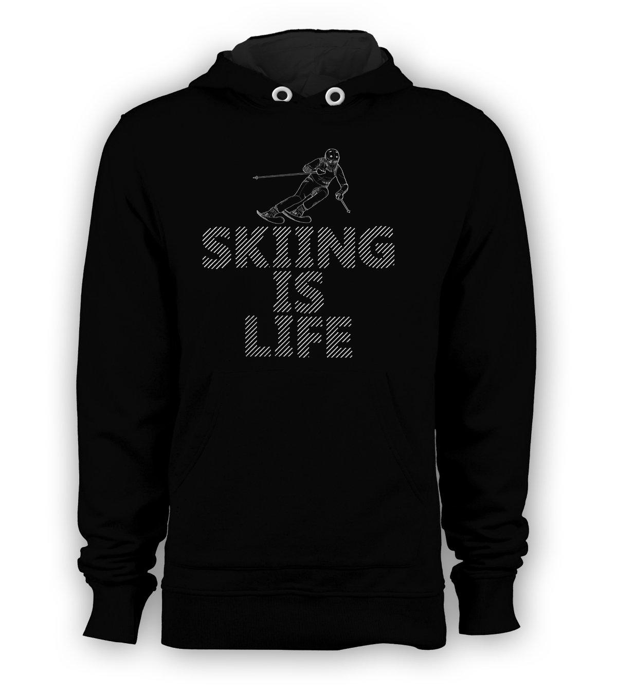 Skiing Hooded Men's Pullover Hoodie - Skiing is Life Sweatshirt Winter Sport New